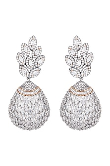 Matte Silver Finish American Diamonds Bulb Dangler Earrings by Shillpa Purii