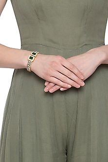 Gold plated green openable bangle