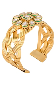 Gold plated kundan adjustable cuff by Shillpa Purii