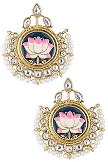 Gold plated meenakari lotus earrings by Shillpa Purii