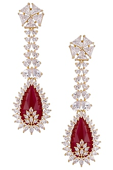 Gold plated red dangler earrings by Shillpa Purii