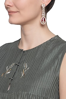 Gold plated red dangler earrings