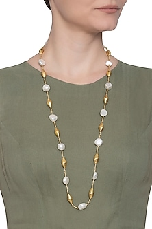 Gold plated pearl long necklace by Shillpa Purii