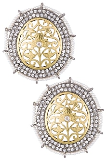 Gold and silver plated diamond earrings by Shillpa Purii