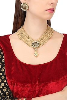 Gold Finish Mesh Chain with Black Meena Work Necklace Set by Shillpa Purii