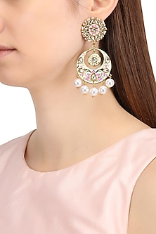 Gold Finish Kundan, Mint Green and Pink Meena Work Chandbali Earrings