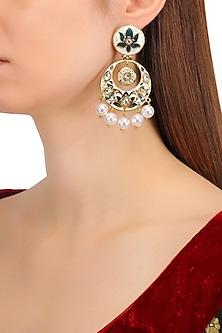 Gold Finish Kundan, Navy Blue and White Meena Work Chandbali Earrings
