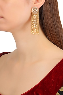 Gold Finish Kundan and Chain Tassels Earrings