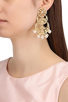 Gold Finish Double Layered Kundan and Pearls Chandbali Earrings