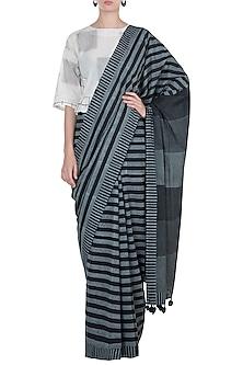 Black Hand Block Printed Saree by Silkwaves