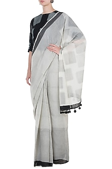 Ivory Block Printed Saree by Silkwaves