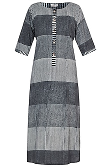 Black Block Printed Kurta by Silkwaves