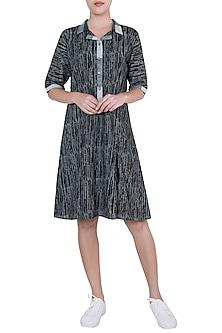 Black Hand Block Printed Lily Dress by Silkwaves