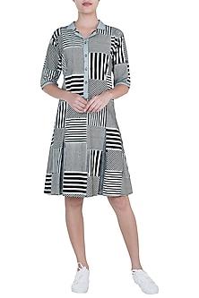 Black Geometric Hand Block Printed Lily Dress by Silkwaves