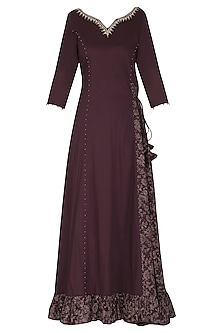 Maroon Embroidered Maxi Dress with Dupatta