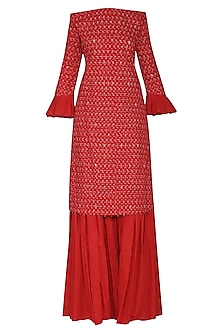 Red Off Shoulder Embroidered Kurta Set