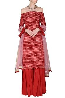 Red Off Shoulder Embroidered Kurta Set by Seema Nanda