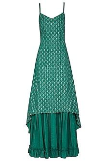 Pink with Green Asymmetrical Embroidered Kurta Set by Seema Nanda