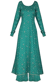 Bottle Green Embroidered A-Line Kurta Set
