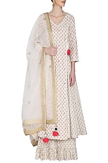 Ivory Embroidered Angarakha Style Kurta Set by Seema Nanda