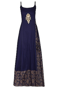 Navy Blue Block Printed Strappy Maxi Dress with Dupatta