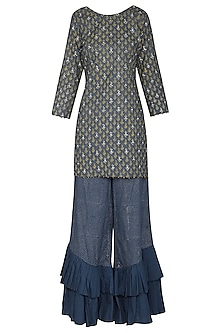Prussian Blue Short Embroidered with Printed Kurta Set