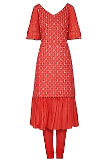 Red Short Embroidered Kurta Set