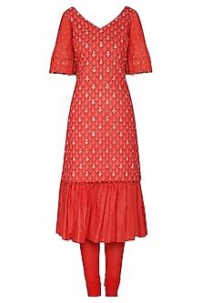 Red Short Embroidered Kurta Set by Seema Nanda