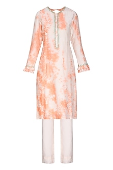 Blush Peach Tie with Dye Embroidered Kurta Set