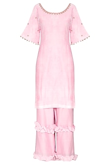 Pink Short Embroidered Kurta Set