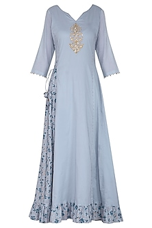 Blue Embroidered Maxi Dress with Dupatta