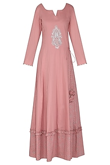 Dusky Pink Embroidered Maxi Dress with Dupatta