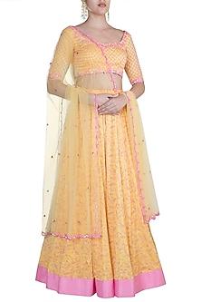 Yellow Embroidered & Printed Lehenga Set by Salian by Anushree