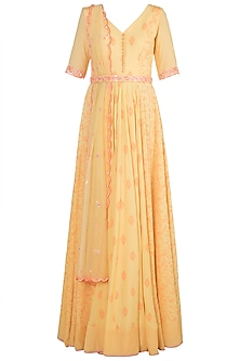 Yellow Embroidered Printed Gown With Dupatta by Salian by Anushree