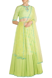 Pista Green Embroidered & Printed Lehenga Set by Salian by Anushree