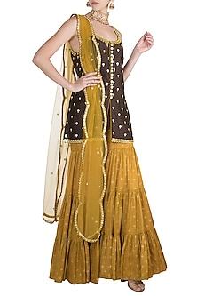Brown & Yellow Embroidered Printed Gharara Set by Salian by Anushree
