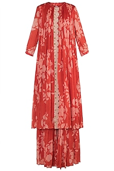 Red Embroidered, Printed & Pleated Kurta With Sharara Pants by Suave by Neha & Shreya