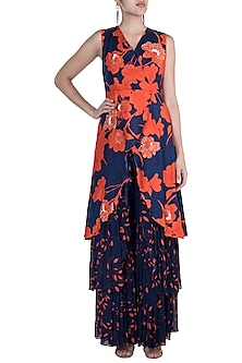 Navy Blue Embroidered Printed Kurta With Sharara Pants by Suave by Neha & Shreya