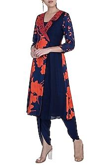 Navy Blue Embroidered Printed Kurta With Dhoti Pants by Suave by Neha & Shreya