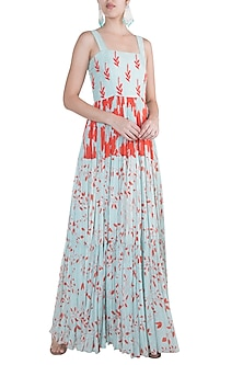Blue Embroidered & Printed Gown by Suave by Neha & Shreya