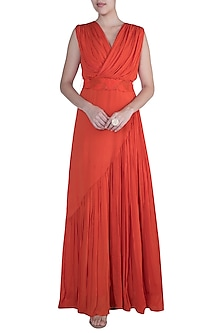 Orange Drape Gown With Embroidered Belt by Suave by Neha & Shreya