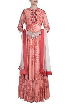 Pink Embroidered Printed With Dupatta by Suave by Neha & Shreya