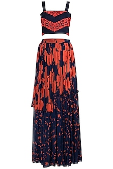 Navy Blue Embroidered Crop Top With Layered Skirt by Suave by Neha & Shreya