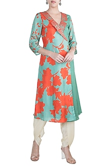 Teal Green Embroidered & Printed Blazer Kurta With Dhoti Pants by Suave by Neha & Shreya