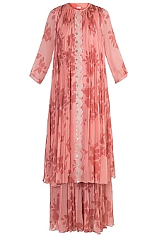 Pink Pleated & Embroidered Kurta With Sharara Pants by Suave by Neha & Shreya