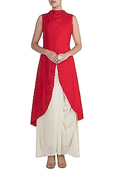 Red Embroidered Kurta With Cream Drape Skirt by Suave by Neha & Shreya