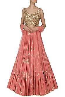 Coral Pink Embroidered Lehenga Set by Salian by Anushree