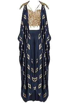 Navy Blue Embroidered Jacket, Corset and Palazzo Pants Set