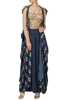 Navy Blue Embroidered Jacket, Corset and Palazzo Pants Set by Salian by Anushree