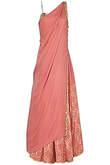 Coral Pink Foil Print and Embroidered Lehenga Set by Salian by Anushree